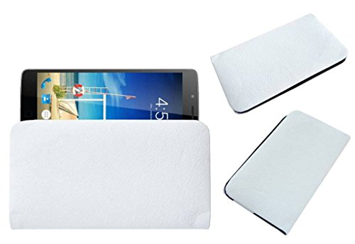 Acm Rich Soft Carry Case Compatible with Swipe Elite Sense Mobile Handpouch Leather Cover Pouch White