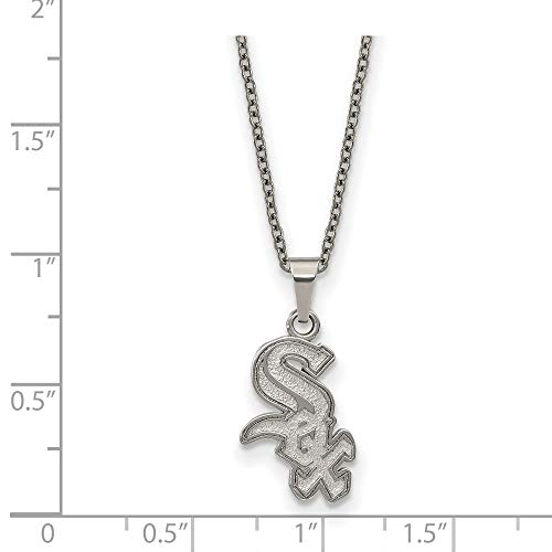 MLB Chicago White Sox Stainless Steel Chicago White Sox Pendant on chain with 2 in ext Necklace Size One - Chain 14k Cufflinks