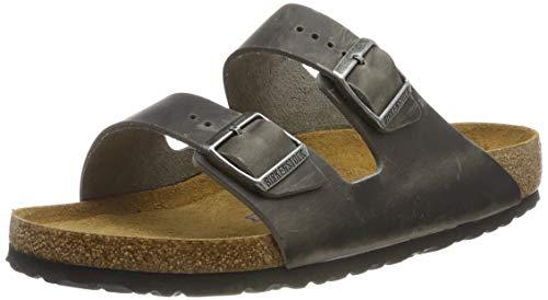 Birkenstock Men's Arizona 2-Strap Cork Footbed Sandal Iron 46 M EU (Birkenstock Arizona Black Leather Two Strap Sandals)