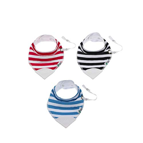Tickles&Wiggles Organic Baby Bandana Bibs for Teething, Drooling Infant - Teether, Adjustable Snaps, Pacifier/Toy Tether (3 Pack Tickles)