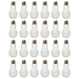 Houseables Plastic Light Bulbs, Fillable Craft Jars, 5.5 oz, 1' W x 4.9' L, 24 Pack, Clear, Fake Lightbulb Cups, Container for Candy, Drinking, Christmas Ornaments, Party Favors, Crafts, Decorations