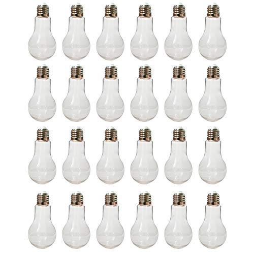 "Houseables Fillable Light Bulb, Candy Container, Plastic, 5.5 oz, 1"" W x 4.9"" L, 24 Pack, Clear, Fake Lightbulb, Jar for Drinking, Christmas Ornaments, Party Favors, Crafts, Decorations, Cups"