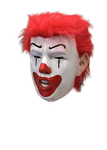Donald Trump Clown Mask , Deluxe with REAL RED HAIR , USA President, Billionaire