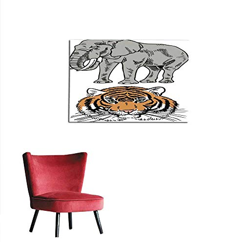 homehot Art Stickers Elephant and Tiger Mural 36
