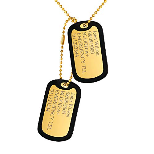 Custom4U Personalized in Memory Dog Tags Military Pendant with Silencer Stainless Steel Ball Chain Army Necklace ID Tag Birthday Gifts
