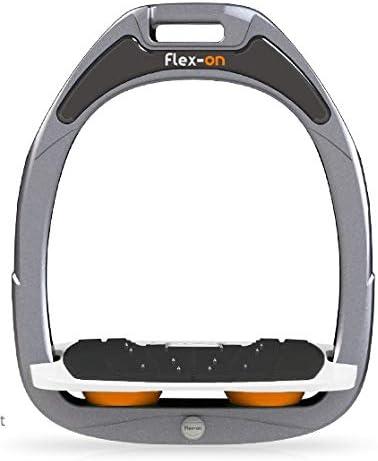 【Amazon.co.jp 限定】フレクソン(Flex-On) 鐙 ガンマセーフオン GAMME SAFE-ON Mixed ultra-grip フレームカラー: シルバー グレー フットベッドカラー: ホワイト エラストマー: オレンジ 08535