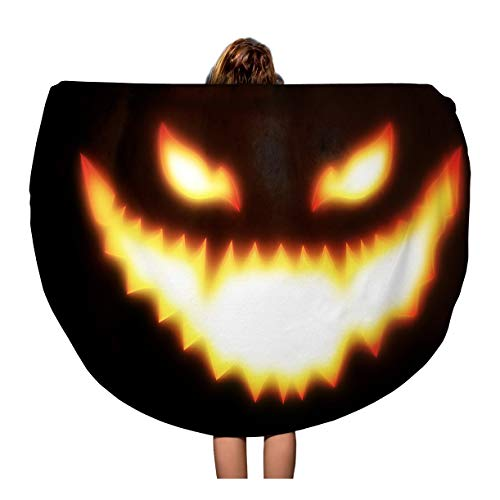 Pinbeam Beach Towel Orange Big Pumpkin Scary Face for Halloween Manipulation Travel 60 inches Round Tapestry Beach Blanket ()