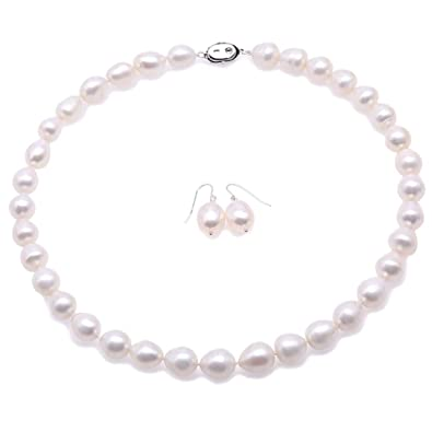 96c4d79303283 JYX Pearl Necklace Set 10-11mm White Oval Freshwater Cultured Pearl ...
