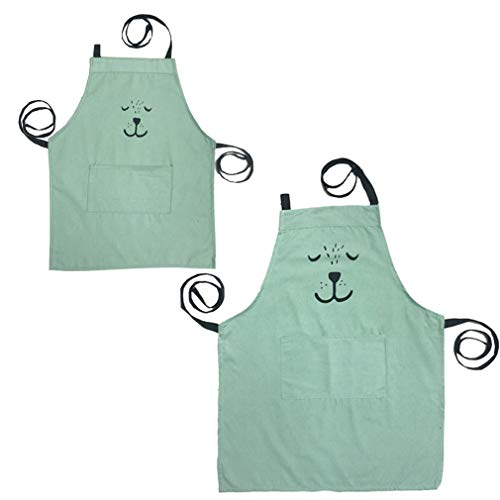 E-Clover Cotton and Linen Cute Bear Parent Child Apron, Simple and Lovely Apron with Pocket for Painting and Cooking, Artist & Chef Apron (Green -