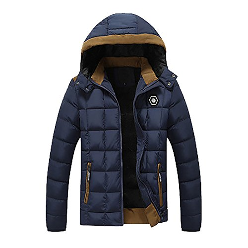 Zipper Down Dark Hood MU2M Coats Blue Quilted Thick Mens Padding Removeable Lightweight Fnf5SHx