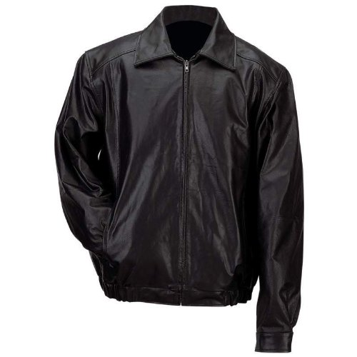 Leather Bomber Style Jacket (Gianni Collani Men's Solid Genuine Leather Bomber-Style Jacket 3X Black)