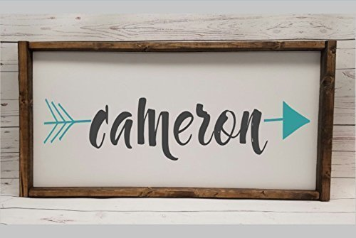 Arrow name sign for nursery, Farmhouse sign, tribal monogram, fixer upper style, chunky framed, hand (Hand Painted Name Signs)