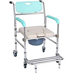 Folding Commode Chair XIHAA Old People Pregnant Women Toilet Stool Adjustable Height Aluminum Alloy with Pedal with Handle Bathroom Bath Chair(Four Rounds)