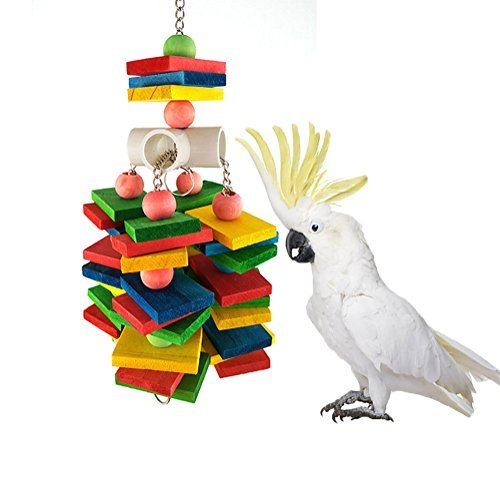 (Large Parrot Chew Toy for Bird Macaw African Greys Cockatoo Eclectus Budgies Parakeet Cockatiel Conure Lovebirds Cage Wood Toy)