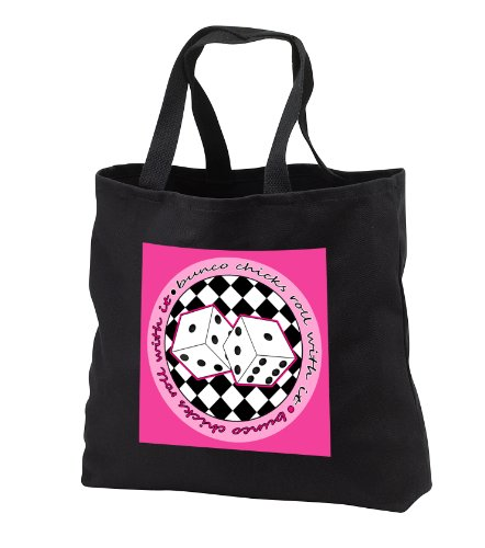 Janna Salak Designs Bunco - Bunco Chicks Roll With It Pink - Tote Bags - Black Tote Bag 14w x 14h x 3d (tb_28502_1)