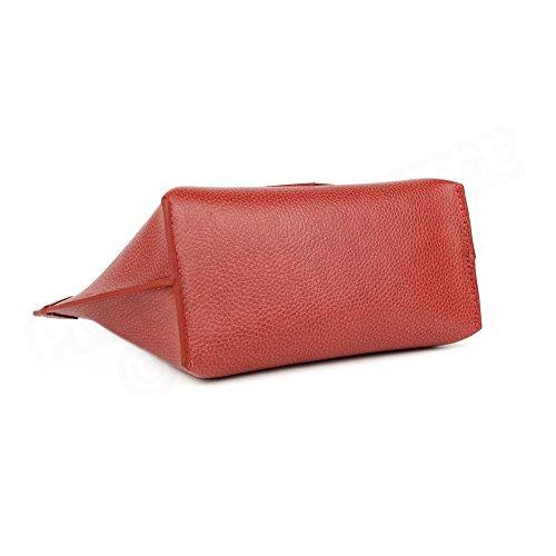 Mini Sac Cabas Marie cuir Rouge Beaubourg