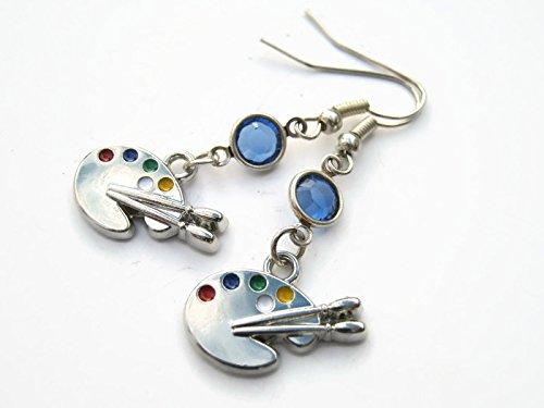 Artist Palette Birthstone Earrings, Personalized Enameled Painter Earrings, Art Tool Earrings, Painting Jewelry Gift