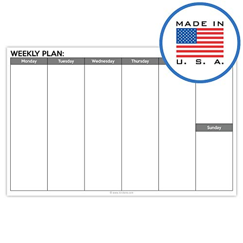 321Done Blank Week Planning Pad Landscape - 50 Sheets (8.5