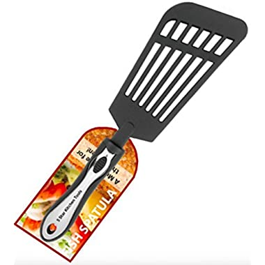 Fish Spatula, Large Multi-purpose Slotted Nylon Turner, for use with Cast Iron, Stainless Steel and Non-stick Cookware, from 5 Star Kitchen Tools