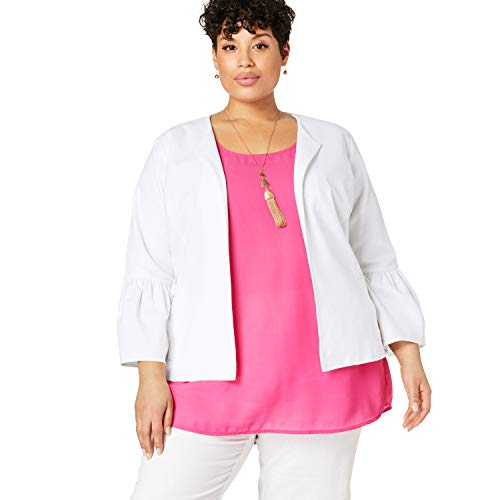 Jessica Linen Blazer - Jessica London Women's Plus Size Bell Sleeve Linen Jacket - White, 18 W