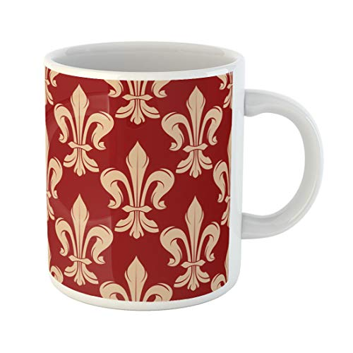 Semtomn Funny Coffee Mug Maroon and Beige Floral French Royal Lily Flowers 11 Oz Ceramic Coffee Mugs Tea Cup Best Gift Or Souvenir