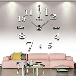 DIY Large Acrylic Mirror Frameless Wall Clock 3D Numbers Design Sticker for Living Room Fashion Clock Home Decor Art Gift Silvery
