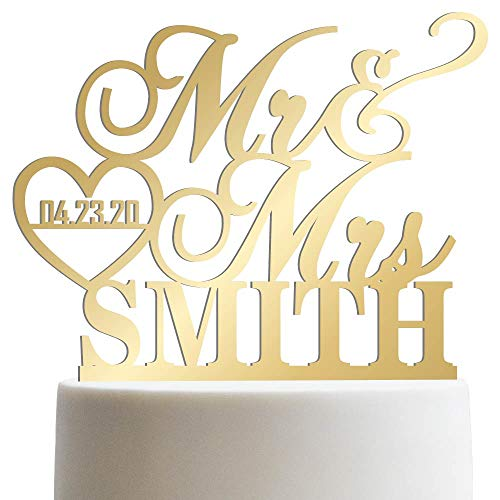 Personalized Wedding Cake Topper Mr Mrs Heart Customized Wedding Date And Last Name To Be Bride & Groom | Mirrored Cake -