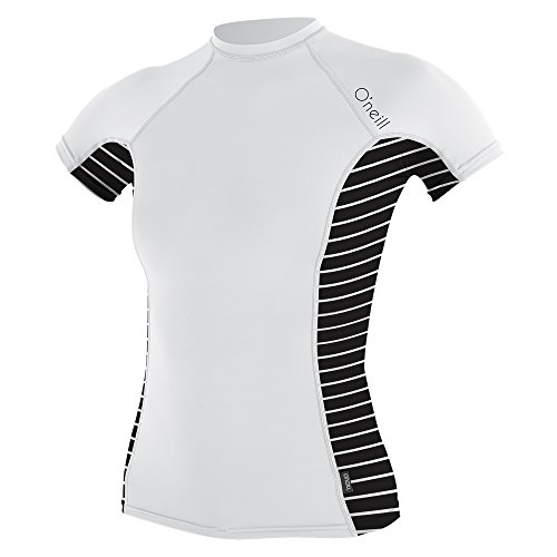 O'Neill Womens Side Print S/S Crew Wetsuit, White/Coastal-Black, ()