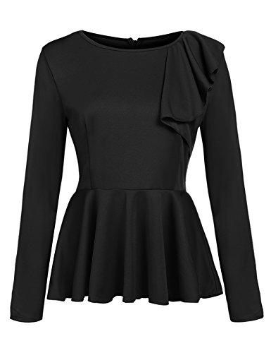Zeagoo Women's Ruffles Peplum Long Sleeve Dressy Blouse Tops
