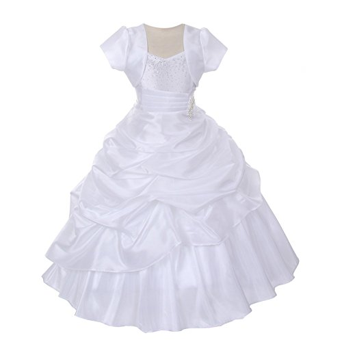 (Chic Baby Little Girls White Bejeweled Pick Up Bolero Pageant Dress 6)