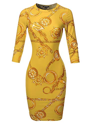 (Casual Printed Body-con 3/4 Sleeves Mini Dress - Made in USA Chain Mustard)