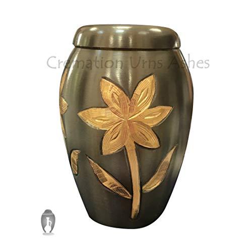 Lily Urn - Majestic Lilies Black Memorial Keepsake Urn Ashes, Small Funeral Urns Keepsake
