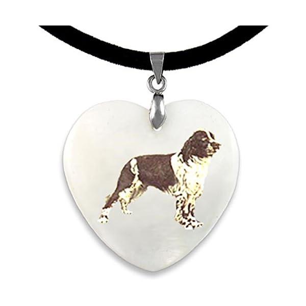 Timest - English Springer Spaniel - Mother Of Pearl Dog Motif Heart Pendant With Velvet Strap PP0274 1