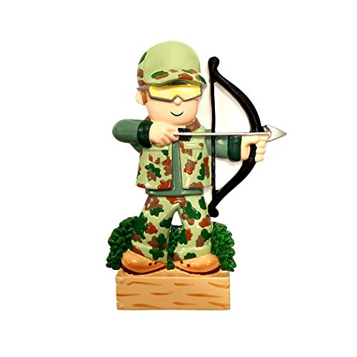 Personalized Camo Archery Hunter Christmas Tree Ornament 2019 - Camouflage Combat Man Practice Shooting Bow Arrow Target Hunting Hobby Sport Recreational Activity Wood Log Year - Free Customization