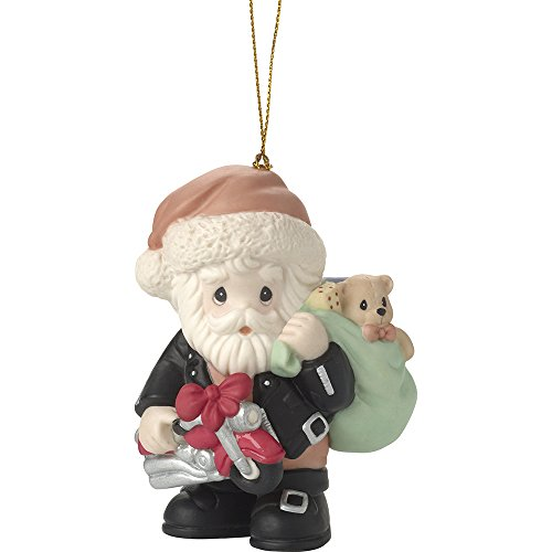- Precious Moments All Revved Up For The Holidays Santa in Motorcycle Jacket Bisque Porcelain Ornament 171032