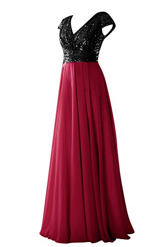 Dressyu Cap Sleeve Sequin Long Prom Party Dress Bridesmaid Gowns Black Wine Red US 26W (Red Bridesmaid Dresses Size 26)