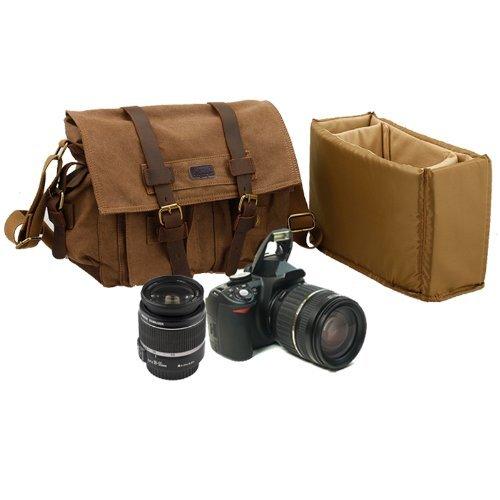 65eef6ffe129 Kattee Leather Canvas Camera Bag Vintage DSLR SLR Messenger Shoulder Bag  Khaki