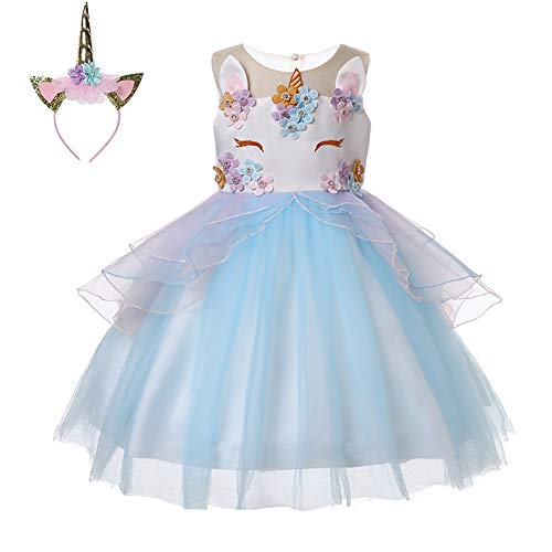 LZH Girls Unicorn Costume Dress Flower Princess Birthday Party Pageant Dress with Hairband ()