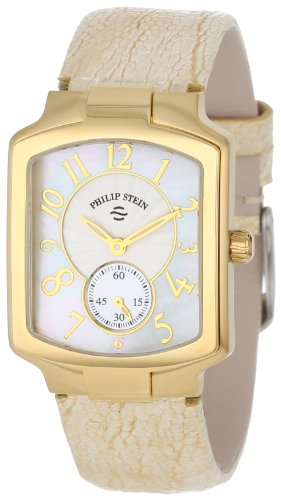 Philip Stein Women's 21GP-FW-OG Gold-Plated Watch with Gold and Cream Leather Strap