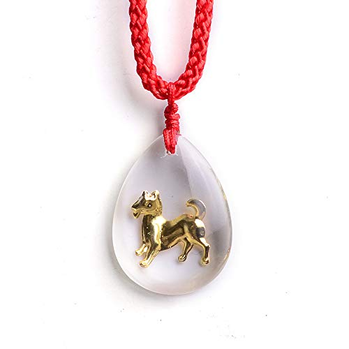 zodiac animal year jigou crystal necklace pendant chain men women girls red string jewelry Boutique Fashion model (zodiac pendant: dog