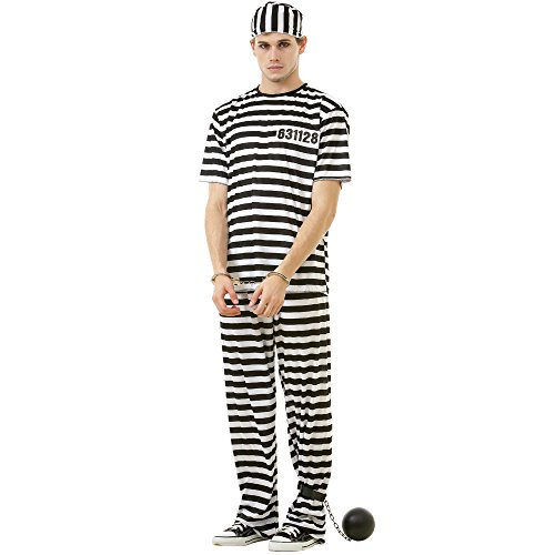 Halloween Convict Costumes (Classic Crook Men's Halloween Costume Jailbird Convict Striped Prisoner Jumpsuit, Black,)