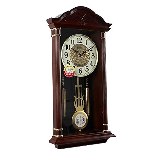 Stylish, Silent Wall Clock Home,Kitchen,Office,Living RoomClassic Music dot Wall Clock Large Living Room Creative Fashion Retro Clocks Neoclassical Modern Mute Clock Table, 20 inches, Dark Brown