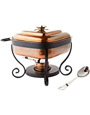 """Old Dutch 384AC 11.5"""" x 10.25"""" x 9.5"""" Copper Stainless Steel Spoon, 3 Qt. Chafing Dish, one Size, Antique"""