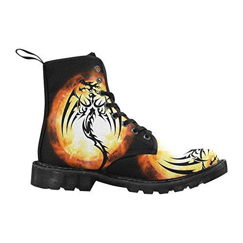 InterestPrint Fashion Shoes Dragon Print Lace Up Boots For Women Black Sole pqaP3bOZy5
