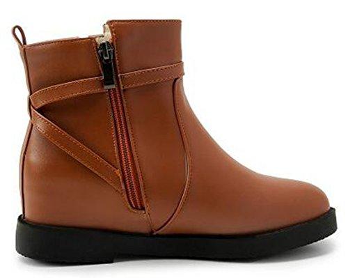 Idifu Kvinna Tillfälliga Mitten Kil Klackar Dolda Inuti Dragkedja Motor Boots Bruna