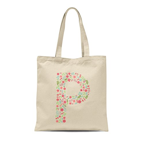 Personalised Any Alphabet Present Tote Letter Gift Shopper Bag P Letter Floral Birthday rI6Sxr