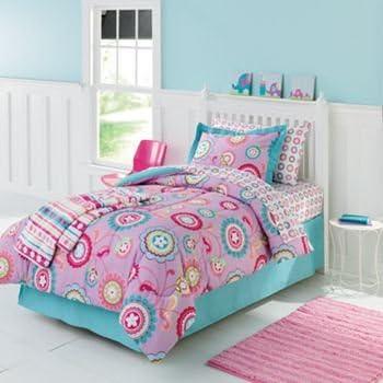 Amazon Com Pink Purple Yellow Turquoise Girls Flower Twin