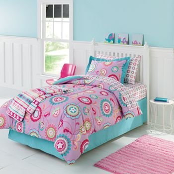 pink purple yellow turquoise girls flower twin comforter and sheet bedding set 5 pc bed - Turquoise Bedding