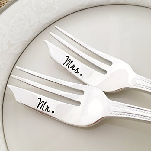 (Mr. & Mrs. hand stamped forks, vintage by Lorelei Vella, pastry, beaded patrician)