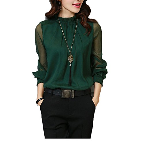 Queenlife Womens Casual Chiffon Shirt Network Yarn Lotus Leaf Long Sleeve Blouse Tops (L, Green)